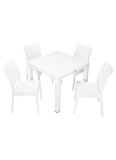 Mandella Elit Rattan 90x90 Elit Sandalye Masa Takımı Beyaz